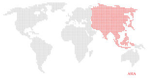 World dotted map. Highlight with red on Asia continent Royalty Free Stock Photo