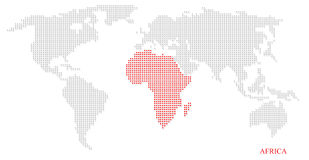 World dotted map. Highlight with red on Africa continent Stock Image