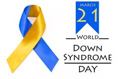 World down syndrome day with blue yellow awareness ribbon bow. World down syndrome day with blue yellow awareness ribbon bow for background Royalty Free Stock Photo