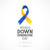 World Down Syndrome Day. 21 March. Lettering. Vector illustration on white background. Blue and yellow ribbon. Health concept Royalty Free Stock Photo