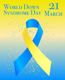 World Down Syndrome Day. Vector illustration of World Down Syndrome Day with ribbon Royalty Free Stock Photos