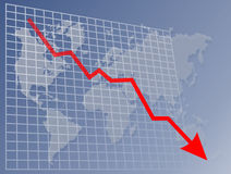 World downwards chart. Downwards moving chart over a map of the world Stock Images