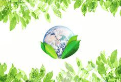 World Earth Day, Environmental Abstract sign symbol. The world with green leaves. Element of this image are furnished by NASA. World Earth Days, Environmental stock photography