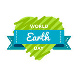 World Earth day greeting emblem. World Earth day emblem isolated raster illustration on white background. 20 march global ecology holiday event label, greeting Stock Images