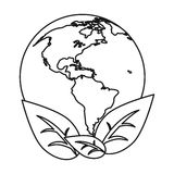 World earth ecological enviroment leaves symbol thin line Stock Image