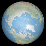 World earth globe arctic, north pole, relief map Royalty Free Stock Image