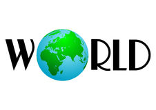 World with Earth globe Stock Photo