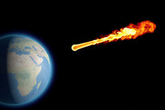 World earth globe explosion meteorite asteroid impact Stock Photos