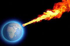 World earth globe explosion meteorite asteroid impact. Threatens Earth, asteroid impact, space Stock Photography