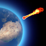 World earth globe explosion meteorite asteroid impact Royalty Free Stock Photo