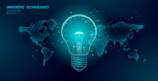 World Earth Hour light bulb concept. Polygonal low poly world planet globe map. Eco save ecology environment green. Energy power concept banner vector royalty free illustration