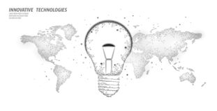 World Earth Hour light bulb concept. Polygonal low poly world planet globe map. Eco save ecology environment green. Energy power concept banner vector stock illustration