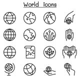 World, Earth icon set in thin line style. Vector illustration graphic design Stock Photo