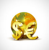 World economic concept with 3d gold world dollar and euro currency  on white background, vector Stock Photos