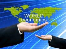 World economics concept on hand. World economics concept on businessman's hand Royalty Free Stock Photos