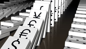 World Economy. Falling dominos with major world currencies printed on them Royalty Free Stock Photography