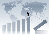 World economy. Business man creates a bar chart royalty free illustration