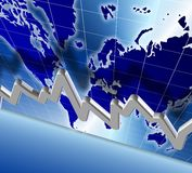 World economy chart. 3d illustration of a chart and world map in the background Stock Photos