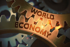 World Economy on Golden Metallic Gears. 3D Illustration. World Economy - Illustration with Glowing Light Effect. World Economy - Technical Design. 3D Rendering Stock Photos
