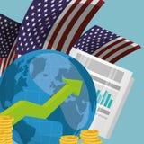 World economy infograph USA. Vector illustration eps 10 Stock Photography