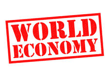 WORLD ECONOMY. Red Rubber Stamp over a white background Royalty Free Stock Photography