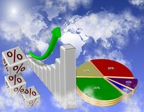 World economy on sky. Charts and percentage symbol with a world map and blue sky in the background Royalty Free Stock Image