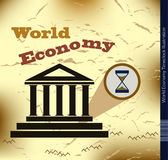World Economy Timeclock Illustration. Retro Design of a collapsing Global Economy with grunge Background Stock Photography