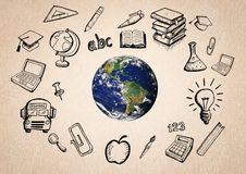 World with educatoin icon drawings agaisnt beige background Stock Photo