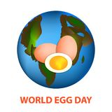World Egg Day. 12 October. Planet earth and eggs. Vector illustration on isolated background Stock Photography