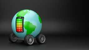World Electric Mobility with Copyspace. World Planet with Wheels Powered by an Electric Battery on Black Background with Copyspace 3D Illustration stock illustration