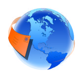 World email. Graphic representing an email flying round the world