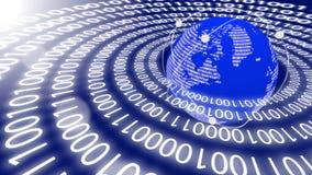 World emitting data in circles Stock Photo