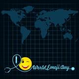 World emoji day greeting card design Stock Images