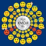 World emoji day greeting card design Royalty Free Stock Images