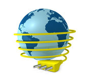World and energy. One 3d render of a globe with a electric cable around it and a plug Royalty Free Stock Images
