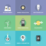 World energy resources flat icons set Royalty Free Stock Photo