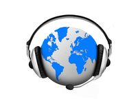 World of entertainment. Image of globe and headphones Stock Image