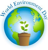 World Environment Day. Celebrating World Environment day by planting a tree stock illustration