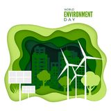 World Environment Day. Abstract green city concept. Ecology concept banner with paper cut green texture. Green energy concept royalty free illustration