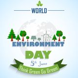 World environment day background with globe and green ribbon. Illustration of World environment day background with globe and green ribbon Royalty Free Stock Photos