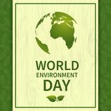 World Environment Day-03. World Environment Day. Banner with globe on the background of leaves. For the design of postcards, posters and printing. Ecology stock illustration