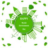 World environment day. Building paper art  surround earth concept sustainable development and nature conservation design for banner, greeting card, t-shirt vector illustration