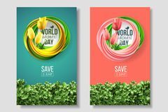 World Environment Day card, banner, logo on the green and living coral background. 5 june ecology bio nature. World Environment Day card, banner, logo on the royalty free illustration