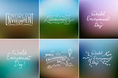 World Environment Day card collection. Hand lettering with gradient mesh. stock illustration