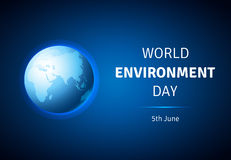 World Environment Day  card, poster with globe. Stock Images