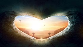 World Heart Day Concept: Heart-shaped empty grave of Jesus Christ stock photography