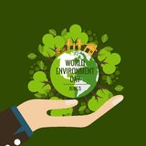 World environment day concept. Green Eco Earth. Vector illustrat Royalty Free Stock Images
