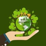 World environment day concept. Green Eco Earth. Vector illustration.  vector illustration