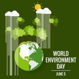 World environment day concept. Green Eco Earth. Vector illustration.  stock illustration