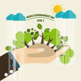 World environment day concept. Green Eco Earth. Vector illustrat Stock Photo